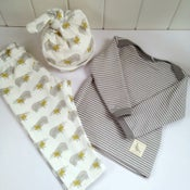 Image of Badger Print Organic Baby Clothing Set