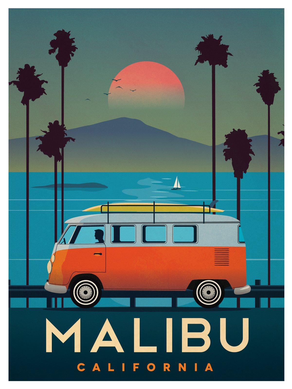 IdeaStorm Studio Store Vintage Malibu Poster