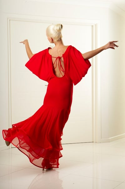 Image of Ballroom Flow Dress RED or BLACK H3279A