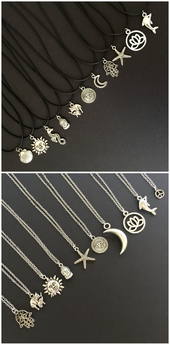 Image of Handmade Charm Necklaces on Silver Chain or Black Cord