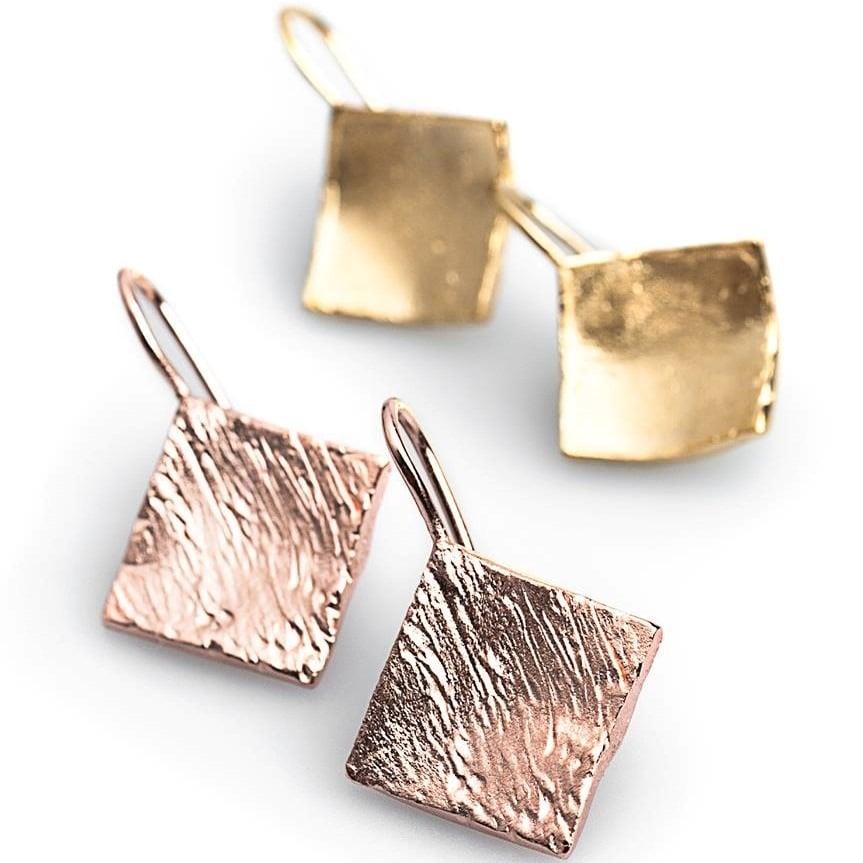 Image of Handgemaakte oorbellen in ruitvorm, juwelen op maat, Wijngaardstraat, Antwerpen, goudsmid