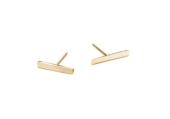 Image of LONG ALEXIS BAR EARRINGS : 14K GOLD