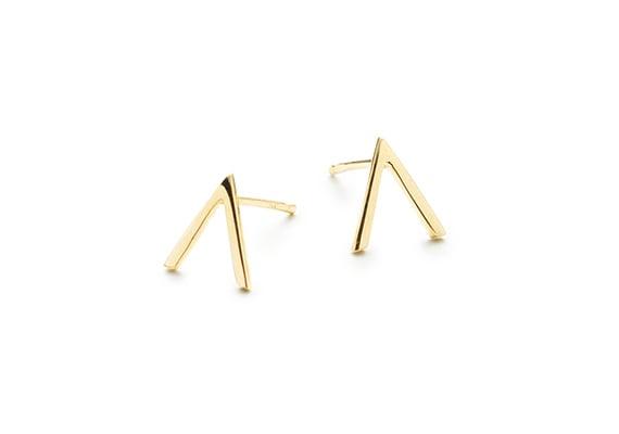 Image of MINI VIOLET STUD EARRINGS : 14K GOLD