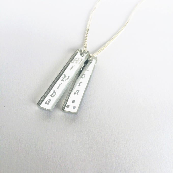 Image of Custom DOUBLE VERTICAL SILVER BAR Acrylic Necklace