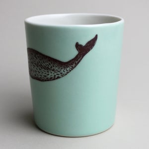 Image of 16oz tumbler with narwhal, aqua