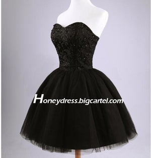 Image of Black Satin Lace Tulle Sweetheart Cocktail Dress With Lace-up Hot Sale