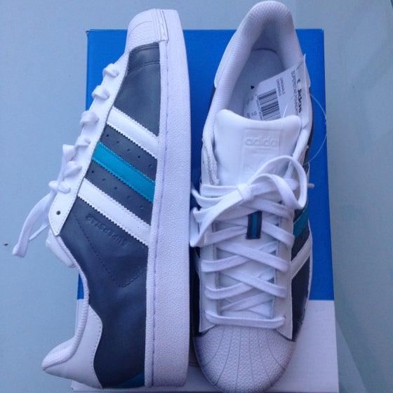 Image of 'ADIDAS SUPERSTAR - SLATE AND BLUE TURQUOISE'
