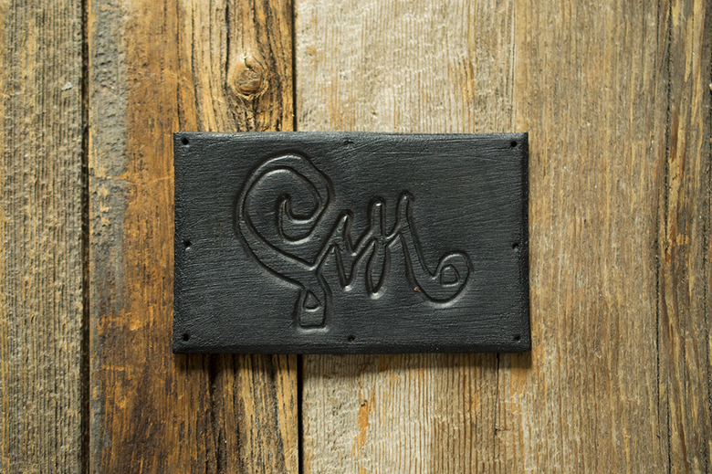 Image of Leather Patch - Calligraphy Logo - Black