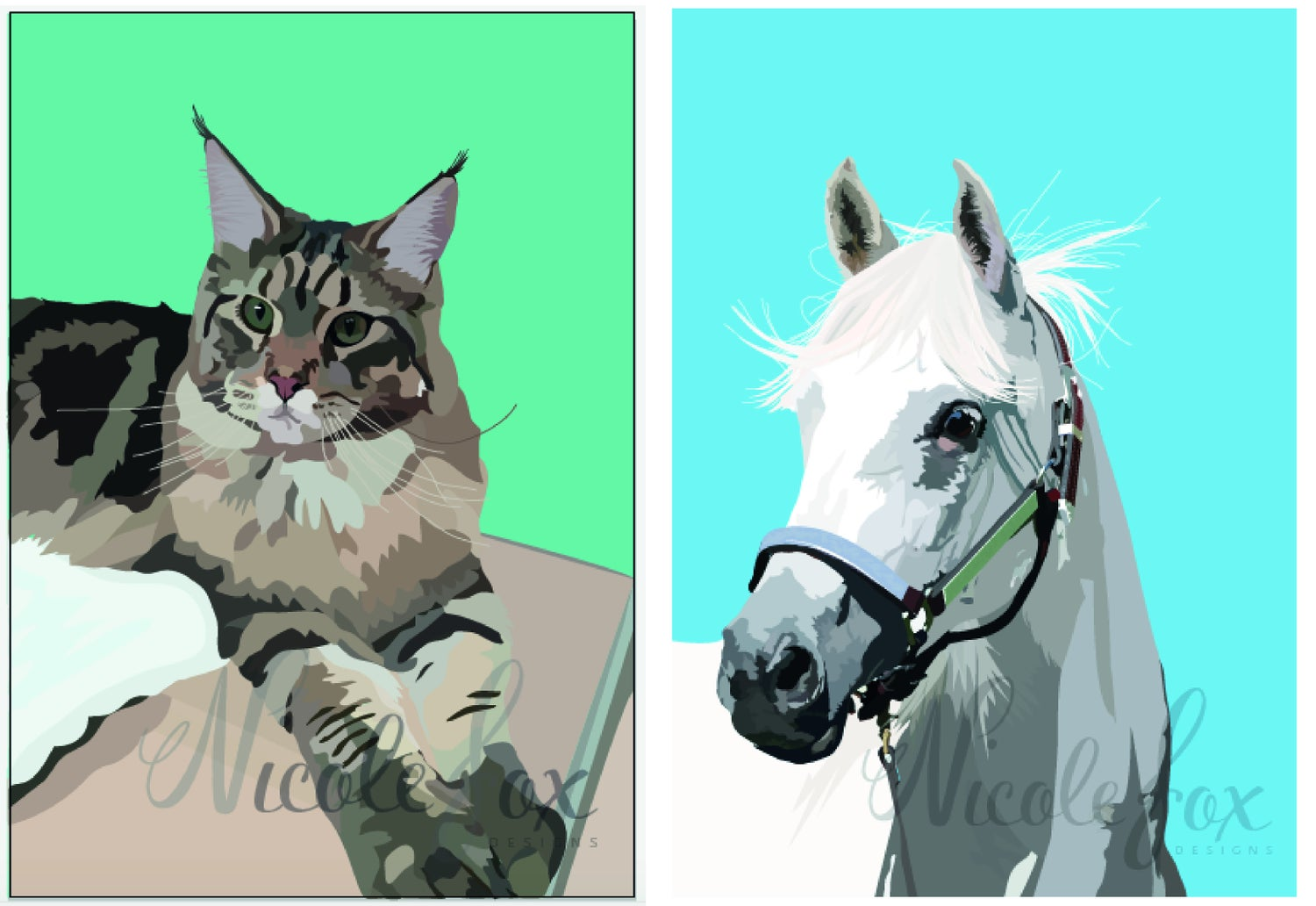 Maine Coon Cat or White Horse Design