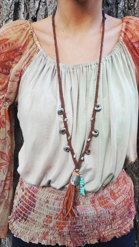 Image of Cibolo - Leather, Silver & Turquoise Long Tassel Necklace