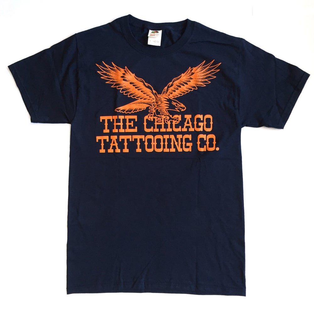 Image of Eagle Short Sleeved Tee - Navy and Orange