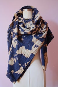"Image of Navy Blue Scarf, Hand Dyed on Raw Silk, ""Amoeba"" Pattern"