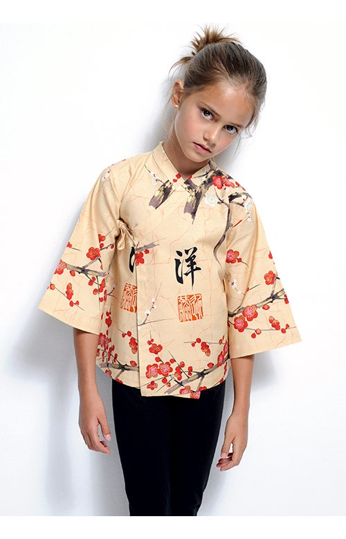 Image of Camisa ocre flores rojas