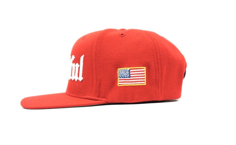 Image of OLD ENGLISH (RED) THANKFUL SNAP BACK