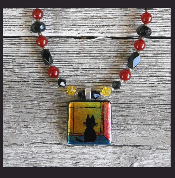 Image of Cat in the Window Glass Dichroic Onyx Carnelian Necklace  0115