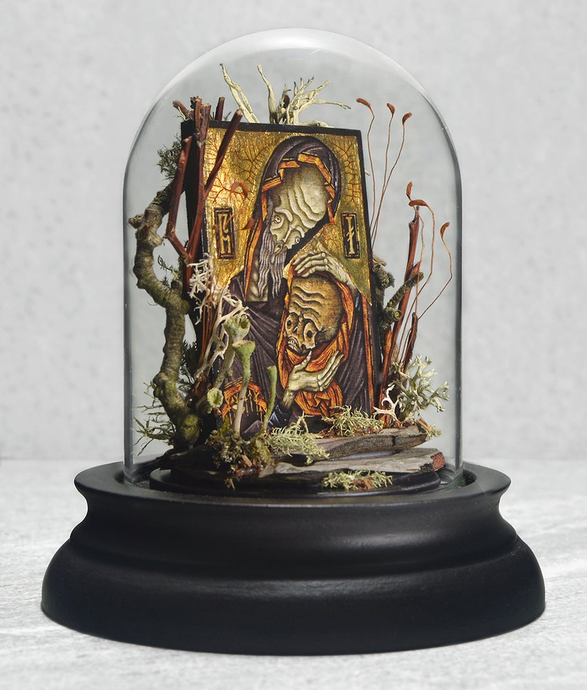 "Image of ""Sanctus Nurgrim Rottus Relic"" Miniature Glass Dome Terrarium"