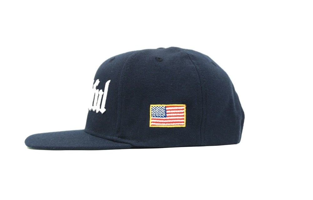 Image of OLD ENGLISH (NAVY BLUE) THANKFUL SNAP BACK