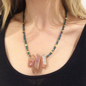 Image of Daya Necklace - with Aura Quartz, Hematite
