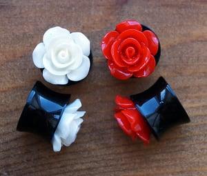 Image of 3D Rose Flower Acrylic Flesh Plug