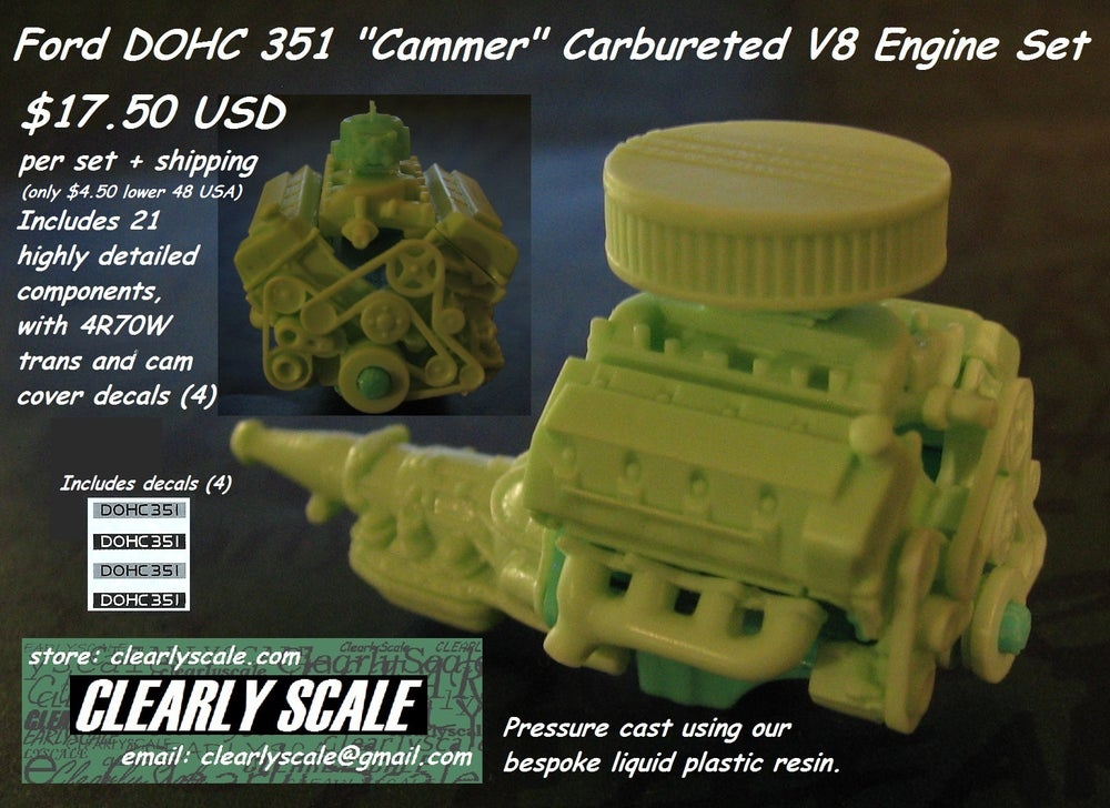 "Image of Ford DOHC 351 ""Cammer"" Carbureted V8 + 4R70W Engine Set with Decals (Clearly Scale Custom)"