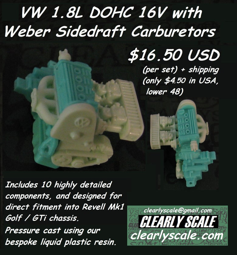 Image of VW DOHC 16V with Weber Sidedraft Carbs Engine Set (Clearly Scale Custom)