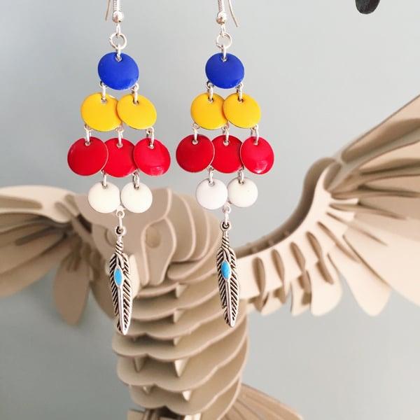"""Image of Boucles d'oreilles """"Indienne Mondrian"""", boho, plumes"""