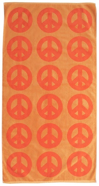 Image of Large Peace Towel <div> Orange & Lava</div>