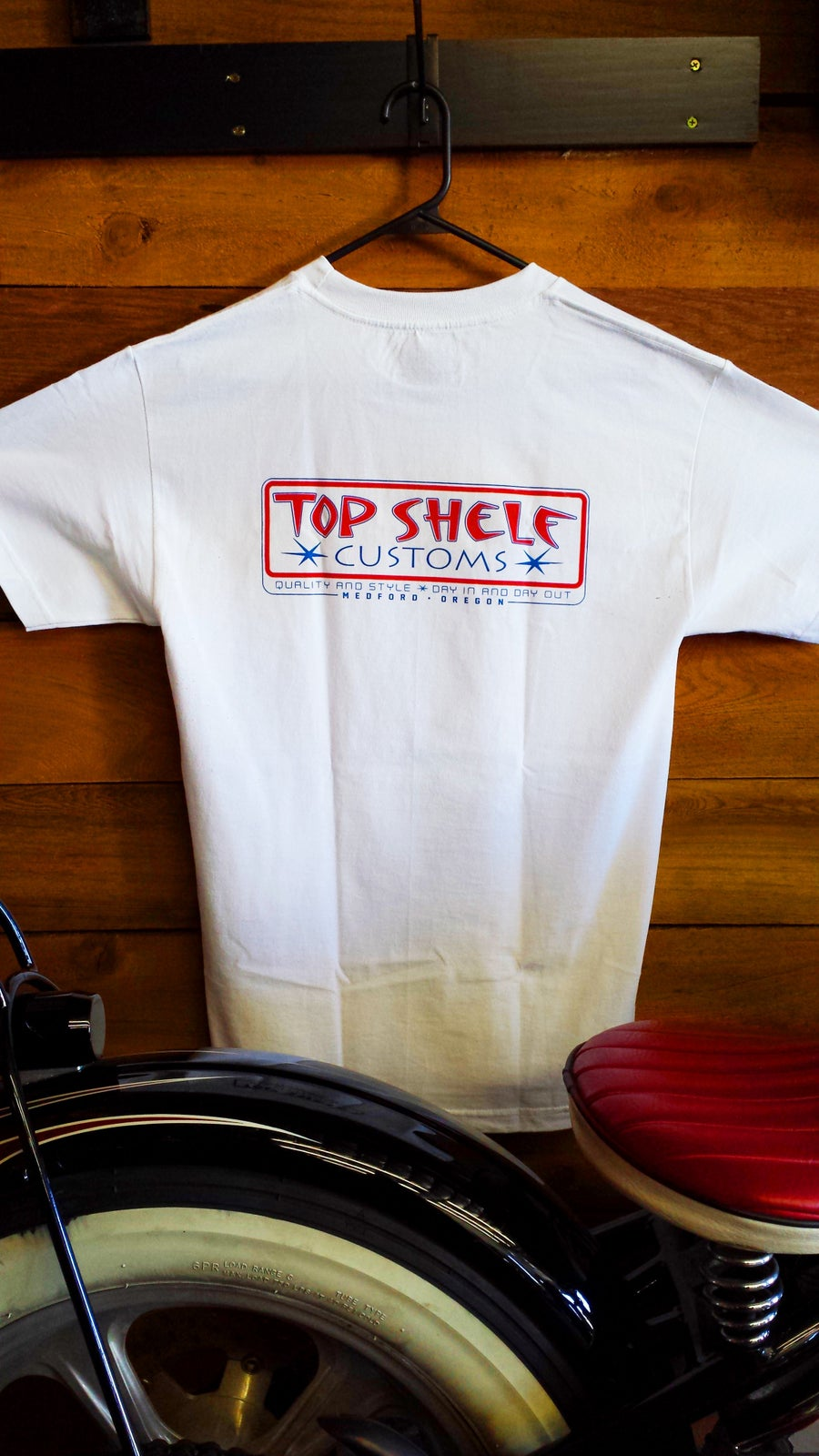 Image of Top Shelf Customs America Badge Logo T-Shirt