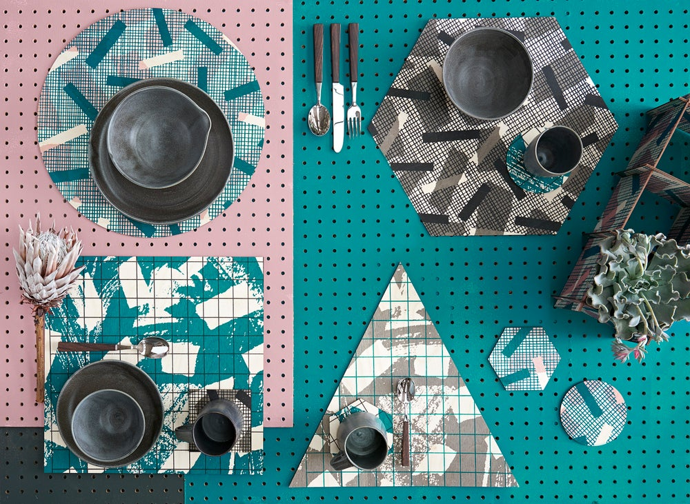 Image of 'Grid' Place Settings- Teal / Pink / Navy / Grey
