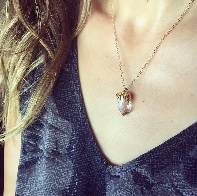 Image of Clear quartz mini crystal layering necklace