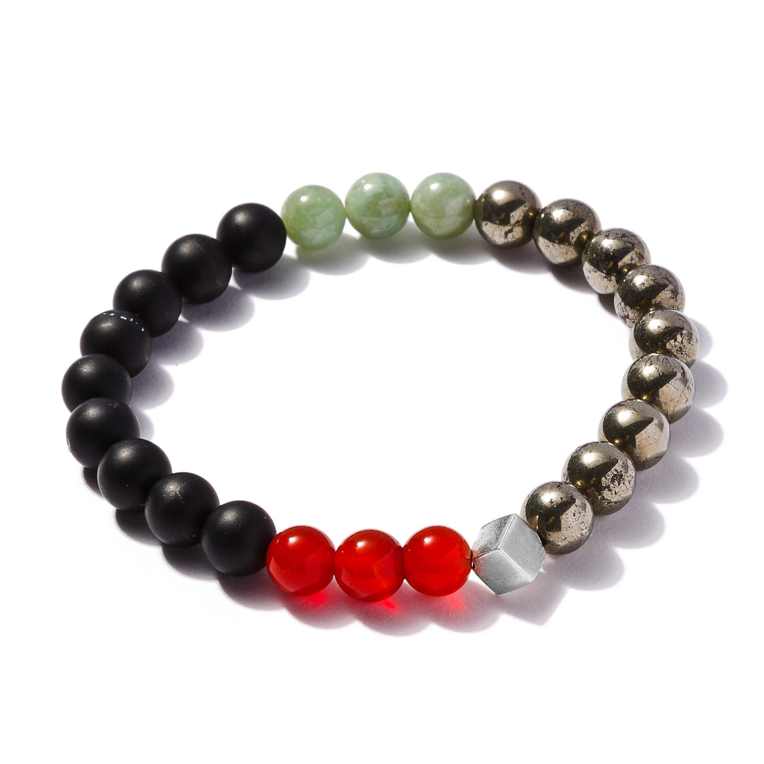 Image of Matt Onyx, Pyrite, Red Agate and Jade Bracelet