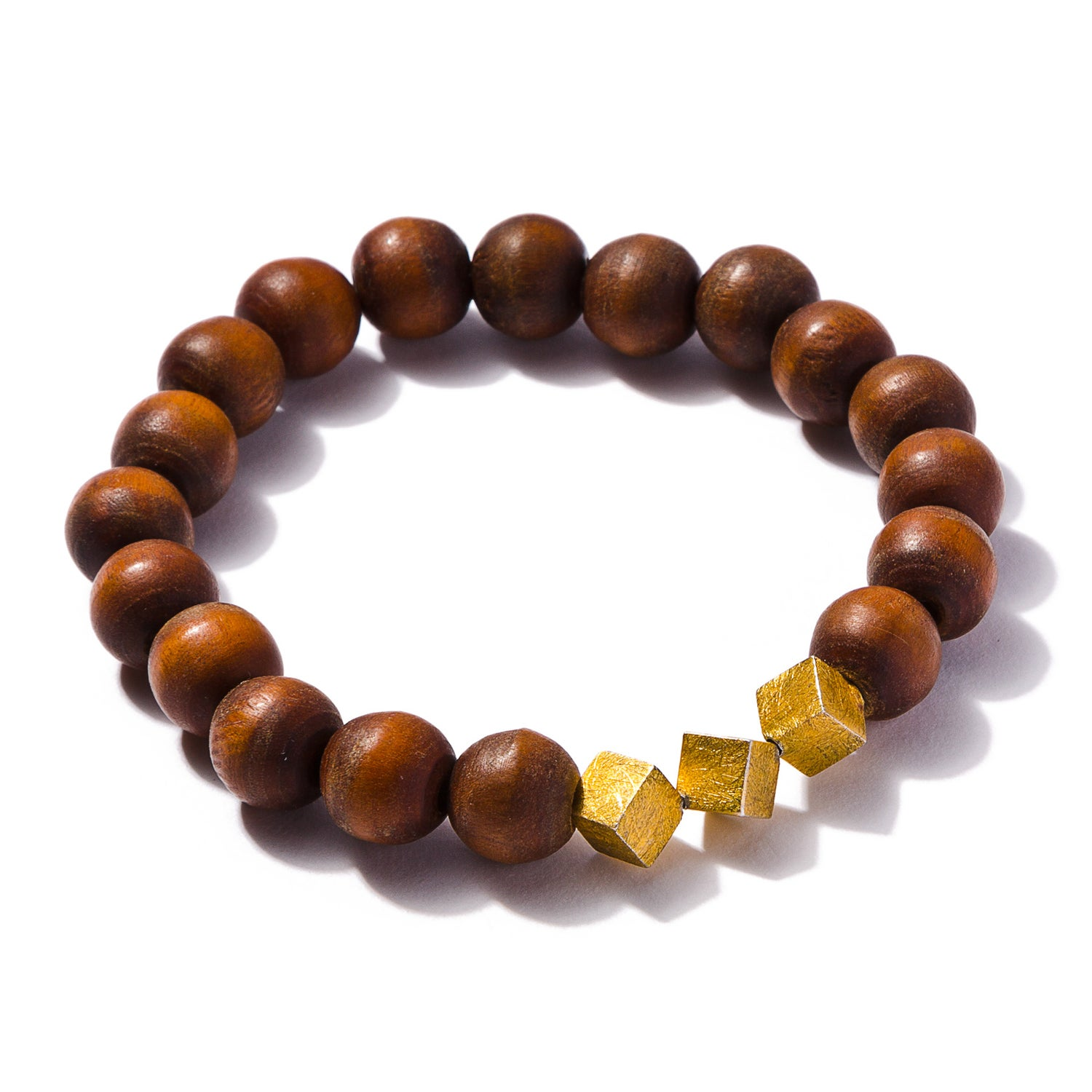 Image of Three 14K Gold Plated Squares with Wood Beads