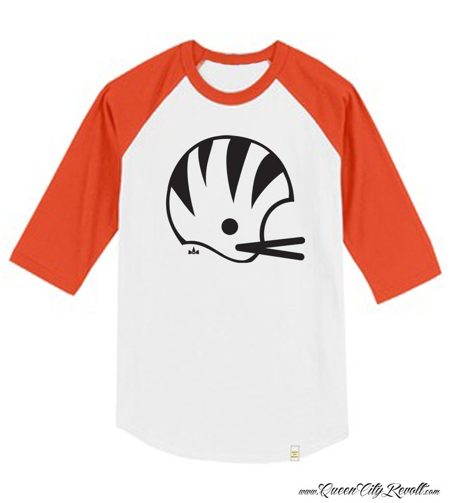 Image of Cincinnati Football Helmet 3/4 Sleeve, Orange