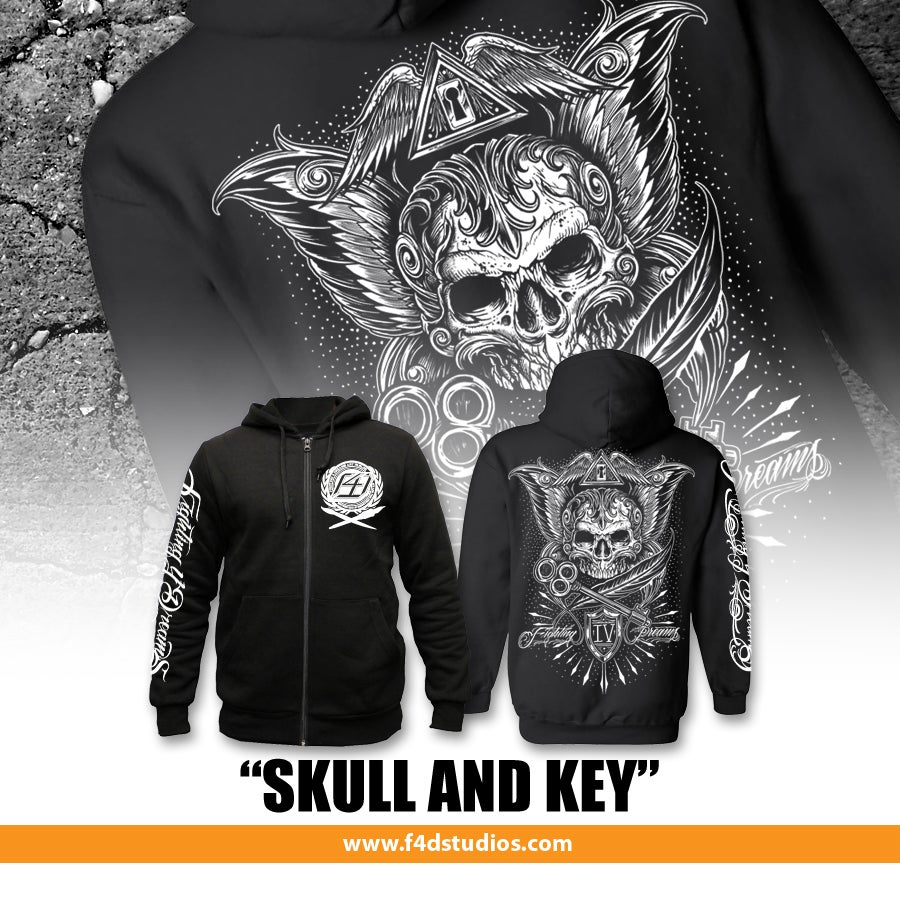 "Image of ""Skull and Key"" Unisex Zip Hoodie"