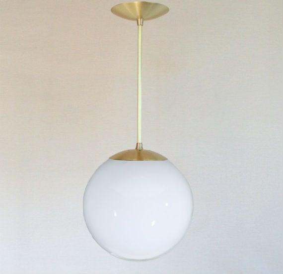 The Orbiter 10 Brass Stem Mid Century Modern Pendant Light With 10 White Glass Globe