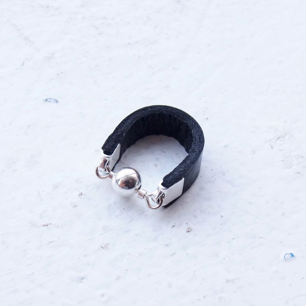 Image of Black and silver Dot ring