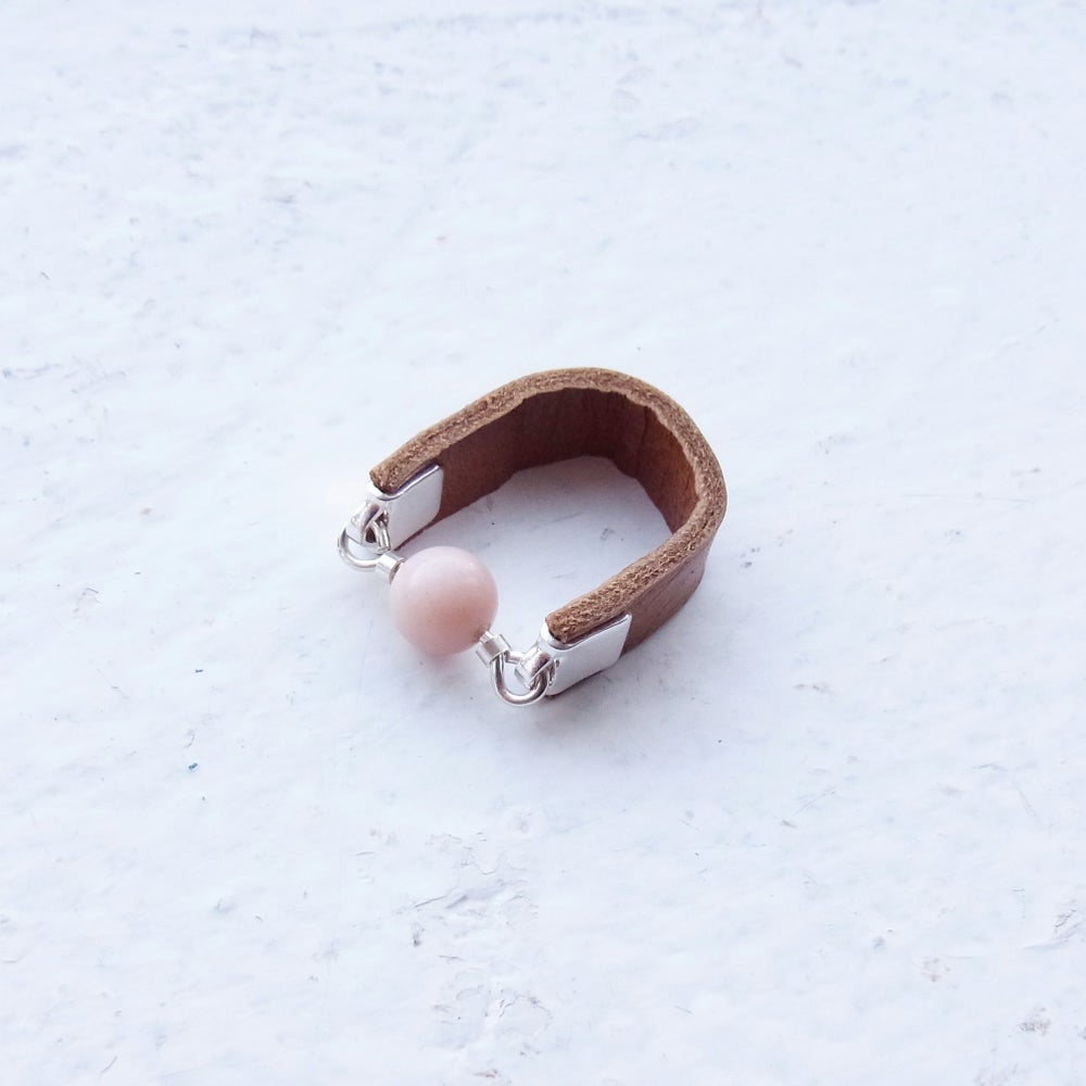 Image of Tan and Pink opal Dot ring