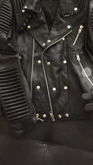 Image of MENS SILVER FOX LEATHER COAT