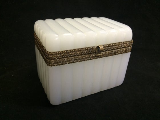 Image of Antique French Opaline Glass Casket
