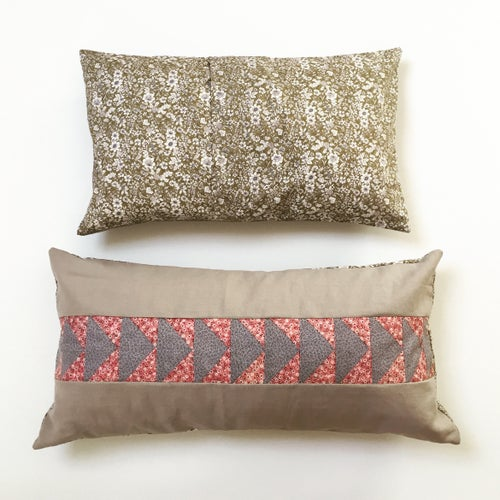 Image of Flying Geese Bolster Cushion in Natural