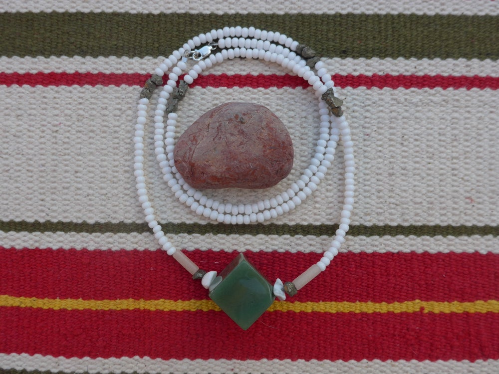Image of Green Aventurine Cube Necklace