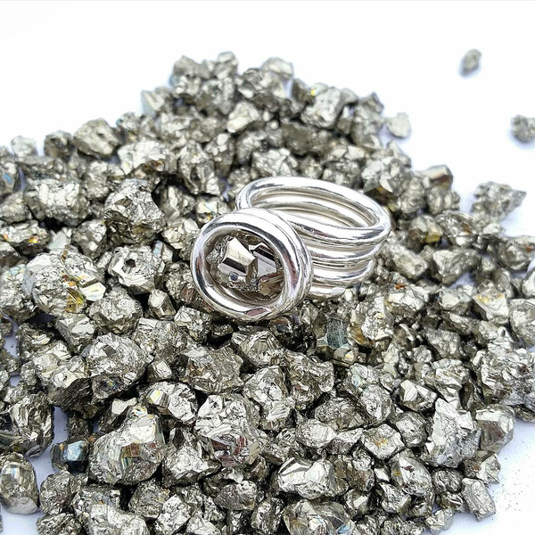 Image of .999 Fine Silver Peruvian Pyrite Nugget Ring