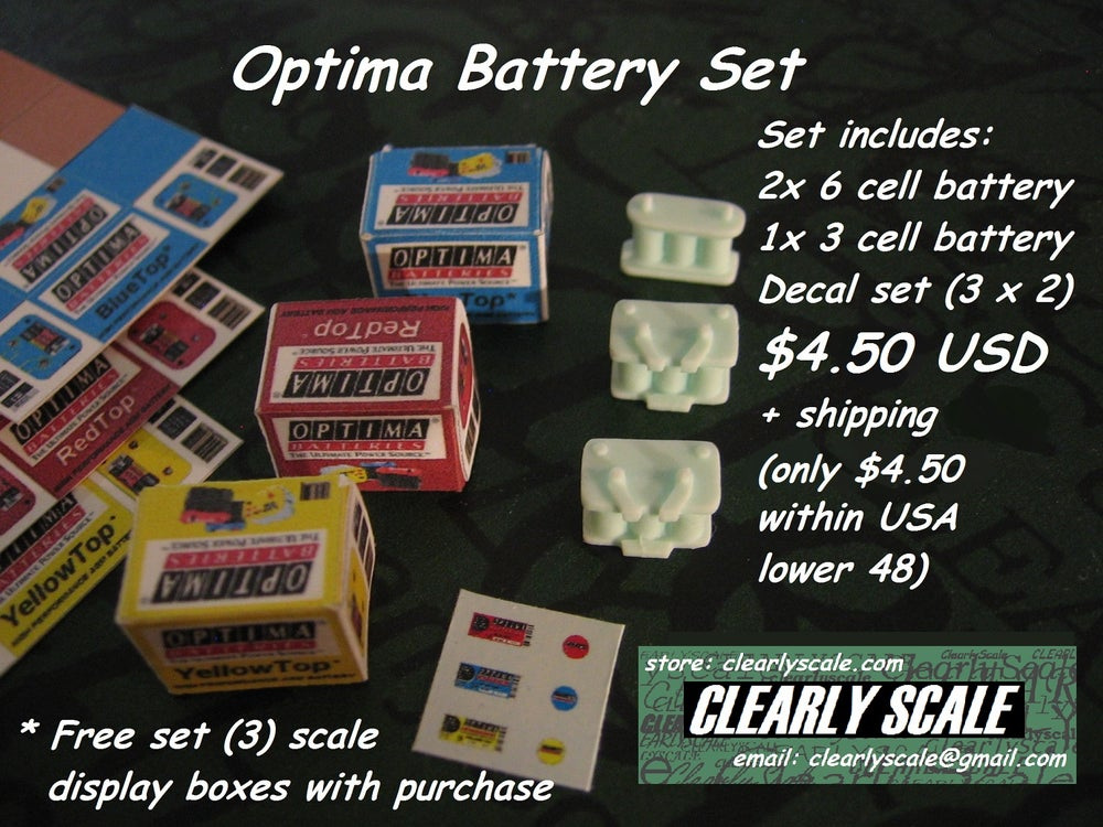Image of Optima Battery (Triple) Set with Decals (Clearly Scale Custom)