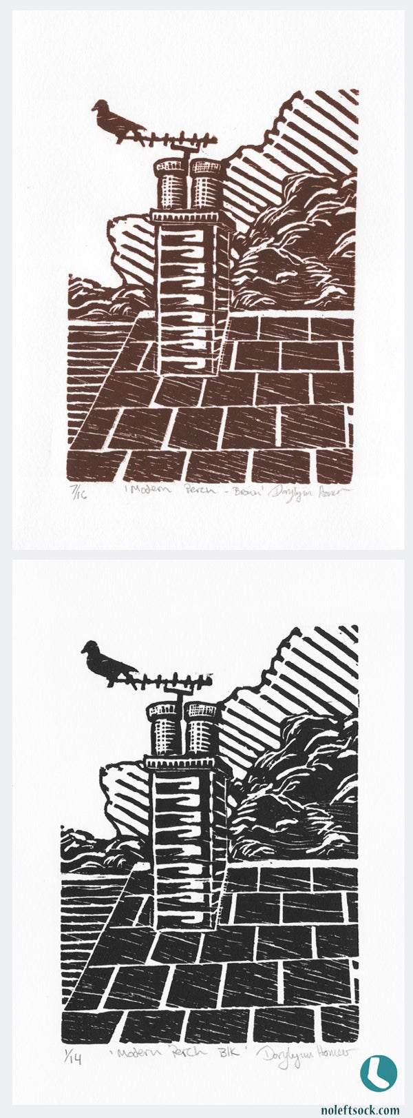 Image of Modern Perch woodcut print in brown or black