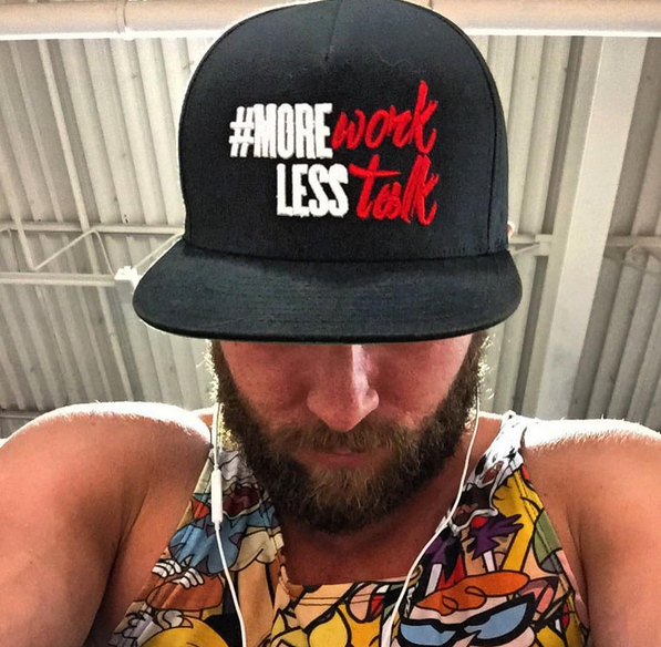 Image of #MoreWorkLessTalk | SnapBack Hat | Black w White & Red Letters