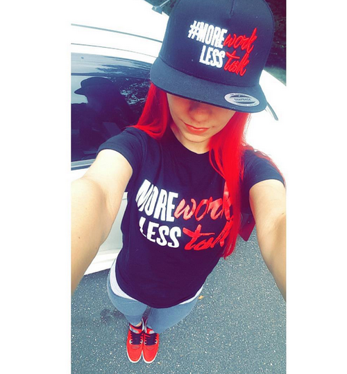 Image of #MoreWorkLessTalk | SnapBack Hat | Black w White & Red Letters