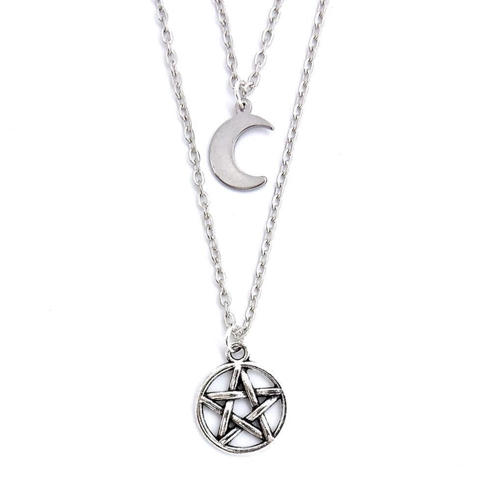 Image of Crescent Moon & Pentacle Layered Necklace
