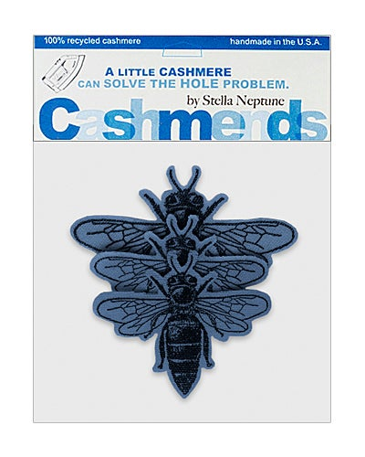 Image of Iron-On Cashmere Bees - Heather Blue