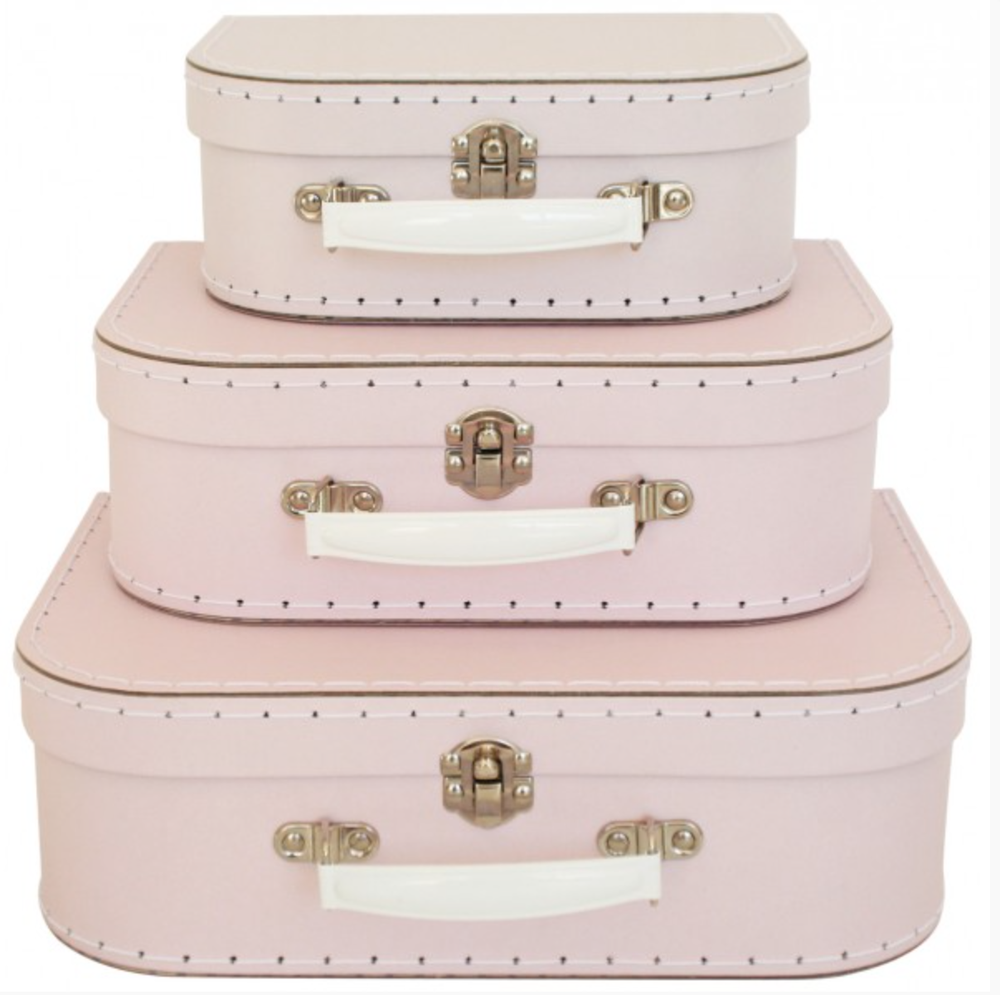 Image of Set of three Pink with white handle suitcases