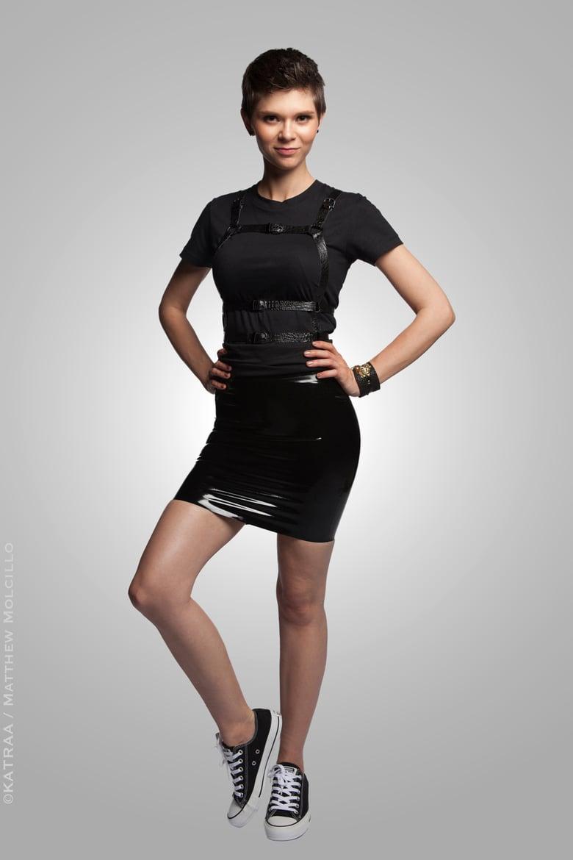 Image of Serpens Osculum • Four Panel Latex Mini Skirt